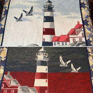 Vtg Biederlack  Lighthouse Reversible Blanket